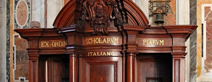 rome, ,october,2011:,an,ornate,wooden,confession,booth,inside